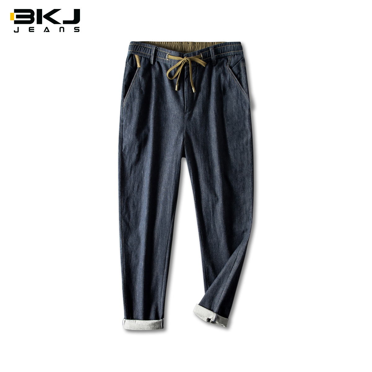 BK summer men's Linen casual jeans straight tube baggy men's pants spring summer thin summer ultra thin 9-point pants