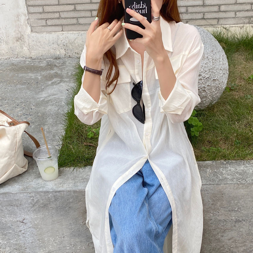 New products in early autumn 2020 retro small group double pocket loose thin sun proof shirt Slouchy long sleeve shirt skirt small sling