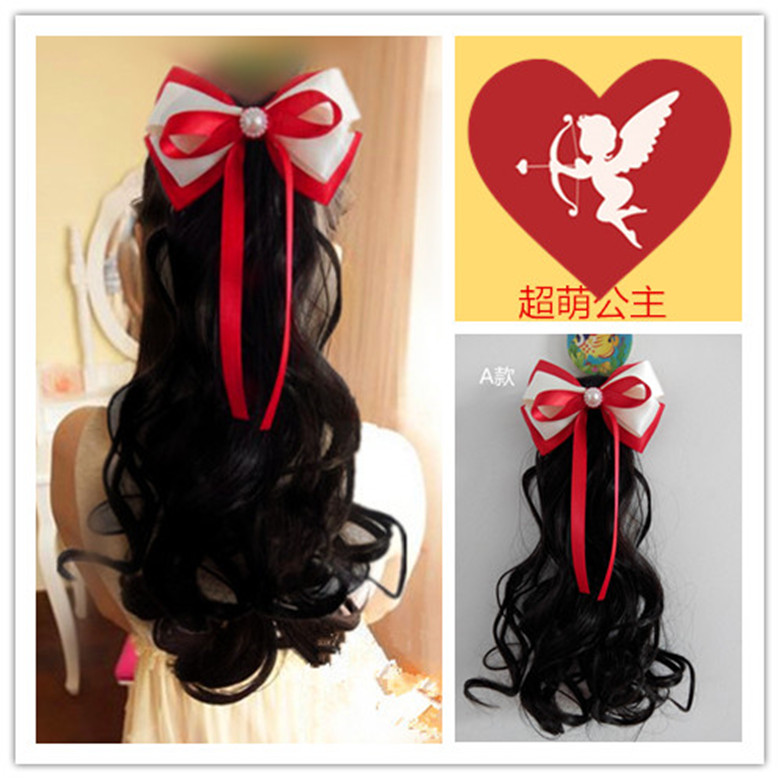 Korean childrens wig accessories baby long roll girls pear flower head hair ornament baby bow screw curly hair ponytail