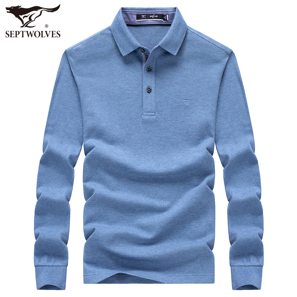 Seven wolves men's long-sleeved T-shirt 2020 autumn new young and middle-aged modal men's lapel Polo shirt men