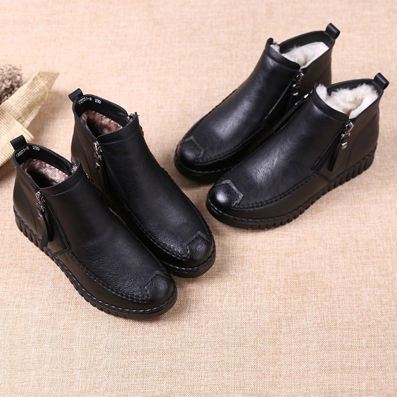 妈妈鞋女冬平底舒适中年加绒保暖短靴中老年女鞋软底防滑老人棉鞋