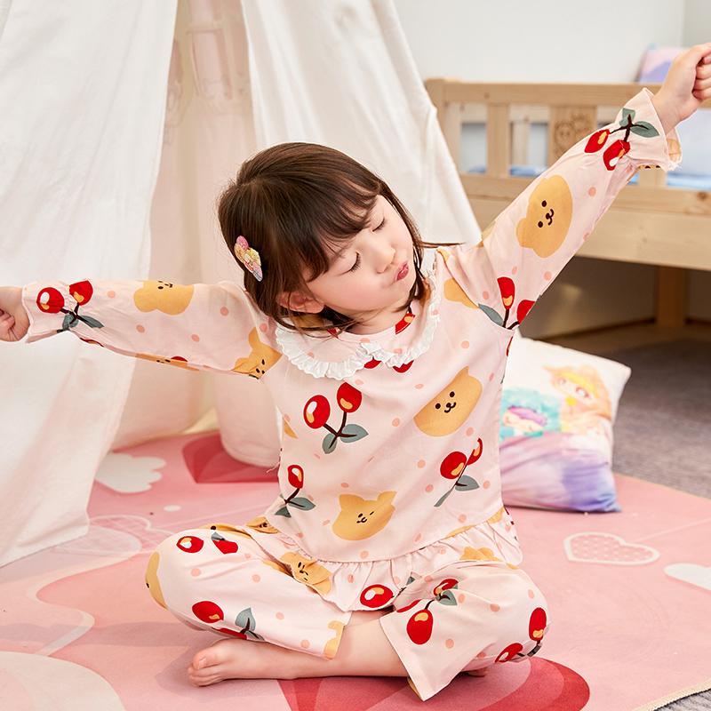 女童夏季长袖棉绸家居服套装空调服