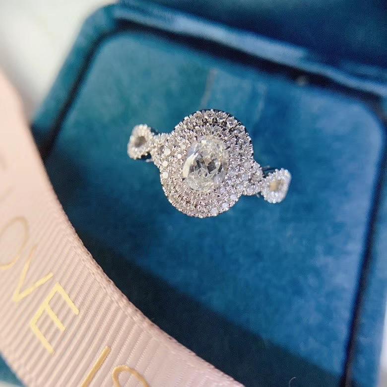 法时珠宝 18K金钻石戒指 GIA50分鸽子蛋 搭配35分小钻