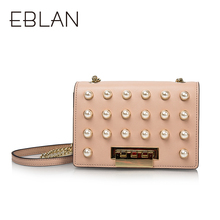 Qianbai Yilian PU Leather Metal Button Pearl Decorative Single Shoulder Slant Bag B8117010