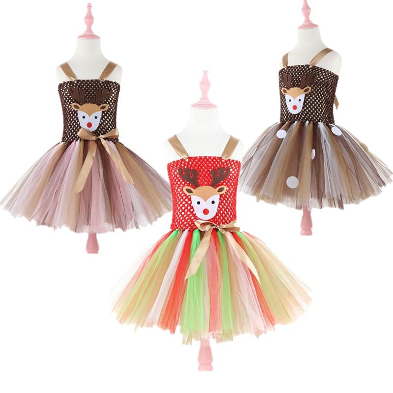 儿童圣诞节装扮服装女童纱裙万圣节小鹿麋鹿鹿角色cosplay扮演服