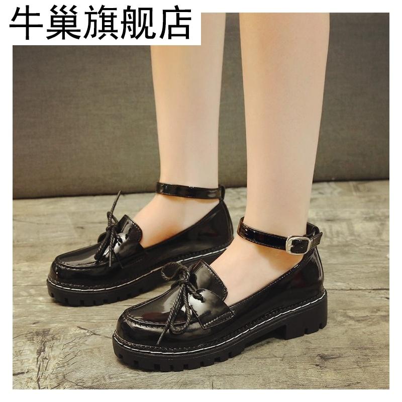 洛丽塔鞋子女学生可爱圆头平底复古松糕萝莉塔鞋子绒面日系单鞋女