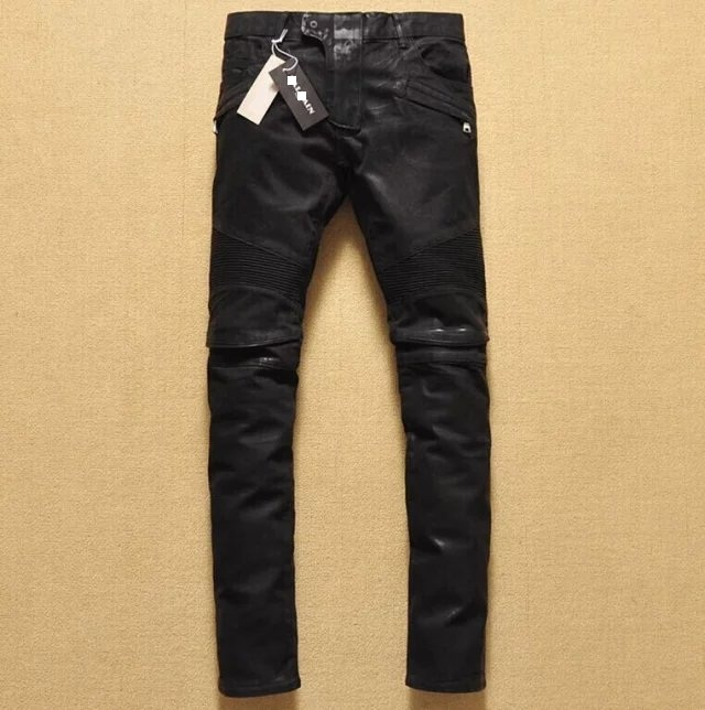 Fashionable and versatile trend small feet slim knees wrinkled punk motorcycle elastic waxed coated jeans men