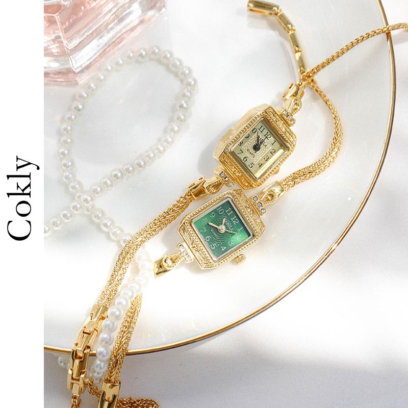 vintage轻奢方形金色绿色表面手表