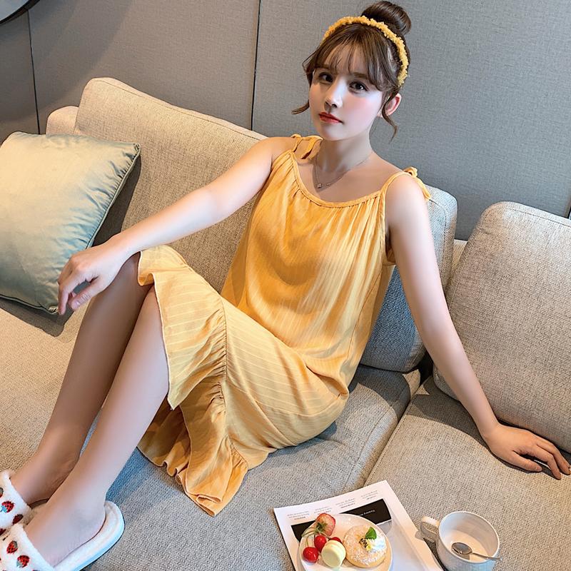 橙心 吊带可调节系绳夏睡裙女纯色带胸垫公主裙睡衣女士夏季                                             去淘宝购买