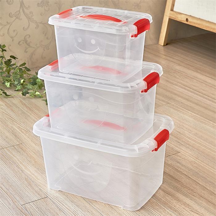 塑料透明有蓋食品級收納箱三件套加厚整理箱儲物箱收納盒整理箱