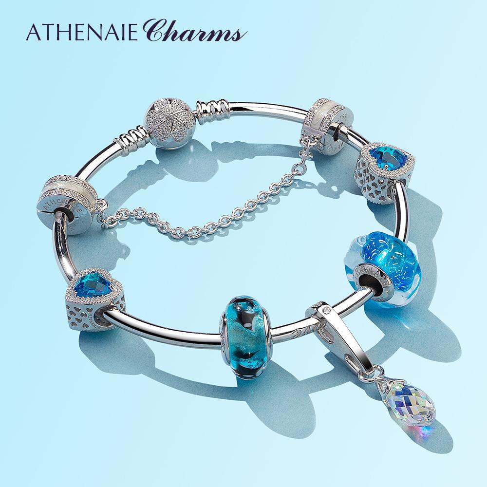 阿斯娜蓝色海洋手链女琉璃珠套装饰品简约串珠首饰情侣送女友礼物