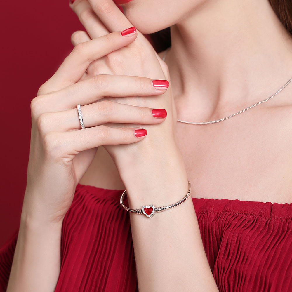 Athenaie 925 Silver Plated Platinum red enamel inlaid diamond lock base chain bracelet for lovers