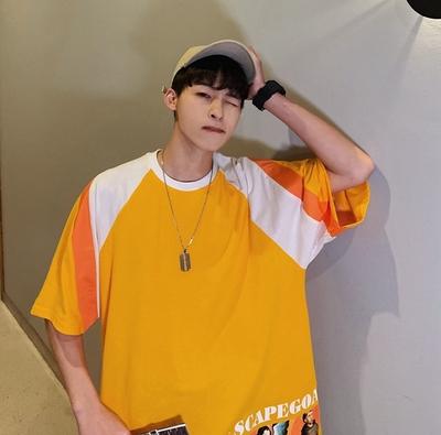 2019夏季新款男士宽松港风韩版T恤圆领拼接短袖T6911P50控65