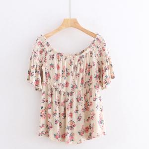 印花T恤 夏季新款外贸女装复古松紧一字领喇叭口短袖修身上衣8693