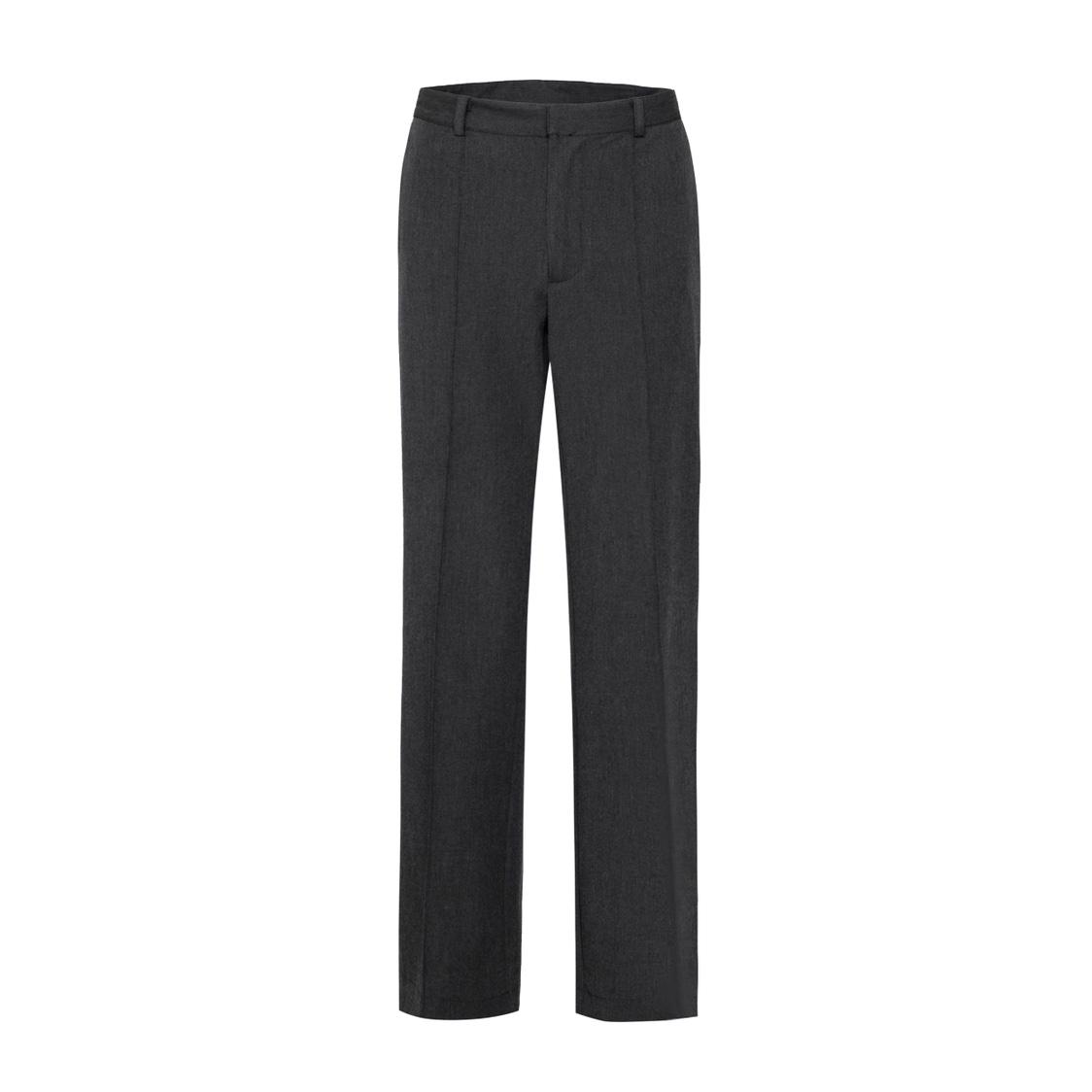 MUKHINA 19AW 深灰色开叉精裁阔腿西裤 百搭高端质感 羊毛混纺