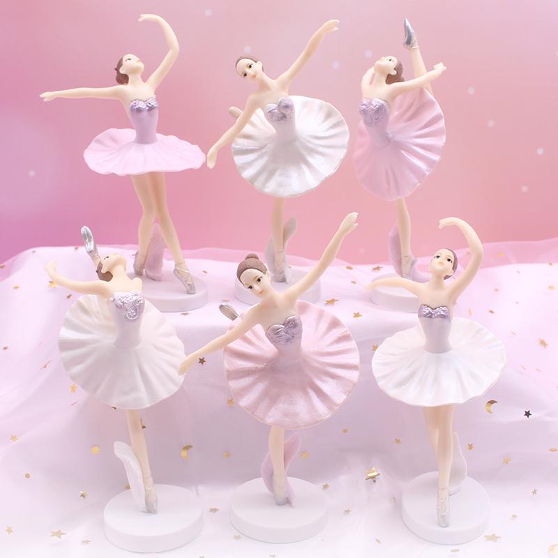 DIY handmade Mosaic music box decoration accessories solid PVC ballet girl cake decoration