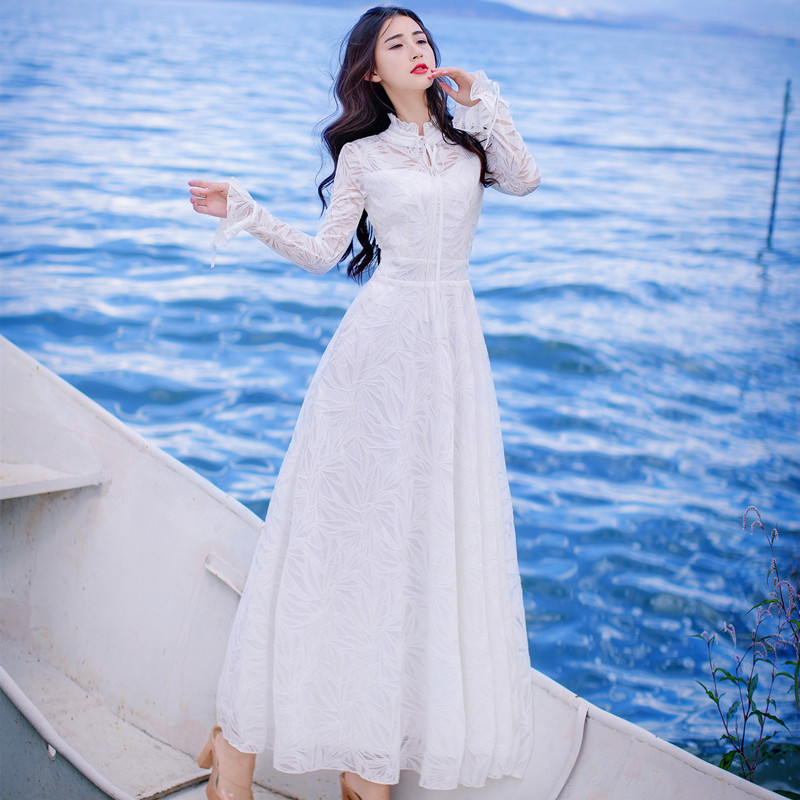 Artistic retro temperament white hollow out lace trumpet sleeve dress lace up slim dress Fairy Holiday Dress