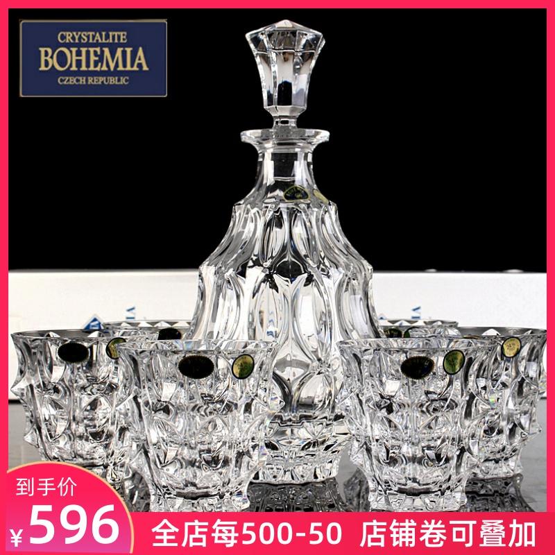 捷克进口波西米亚水晶玻璃洋酒杯烈酒被威士忌杯家用酒杯七件套装