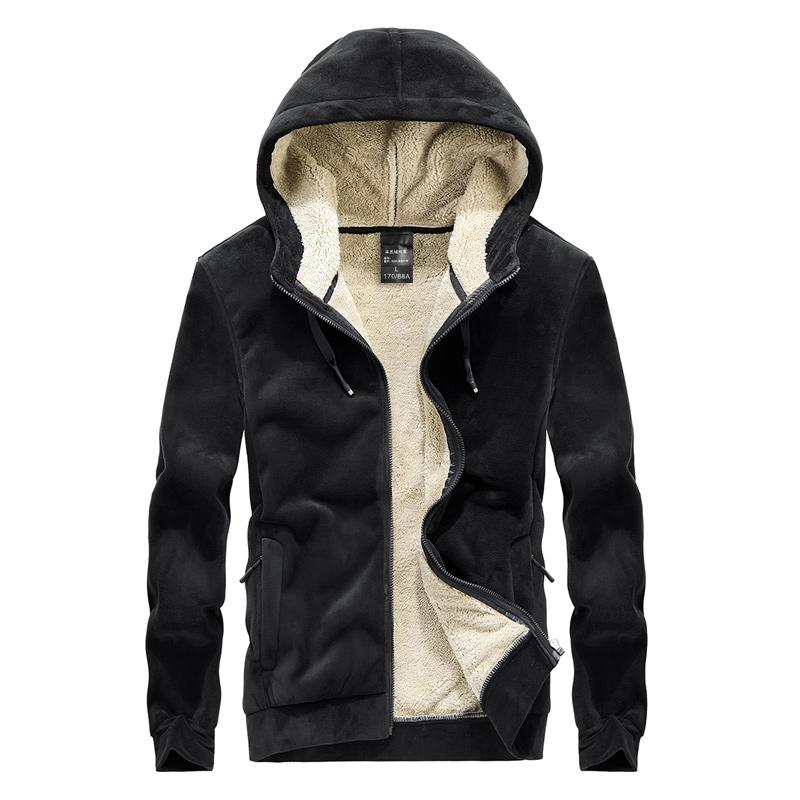 冬季加厚男士羊羔绒连帽卫衣加绒加厚纯色开衫保暖厚款银狐绒外套