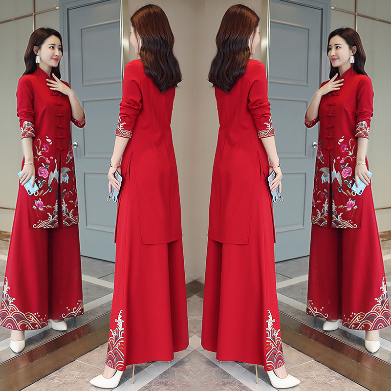 2021 spring and Autumn New Chinese national style Royal sister suit pants foreign style womens cheongsam wide leg pants two piece suit fashion
