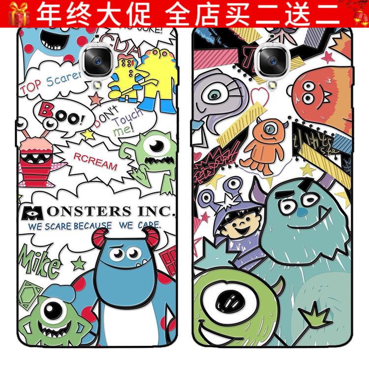 一加6/3/T手机壳OnePlus一加5/T保护套挂绳创意个性卡通怪兽情侣
