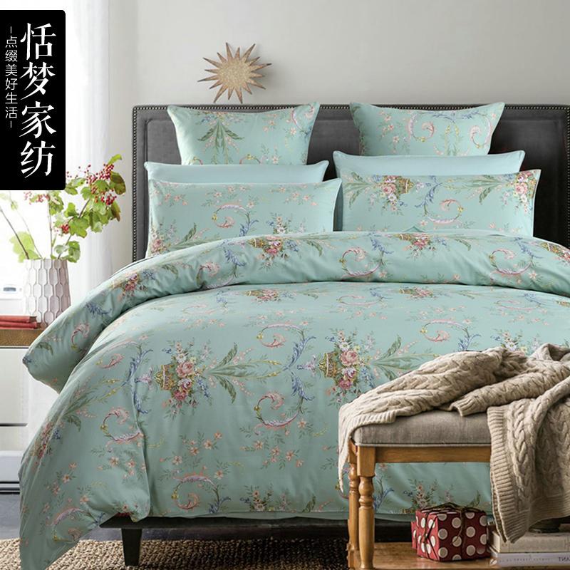 恬梦家纺全棉60S贡缎四件套1.5m1.8米被套床单床上用品4件套纯棉