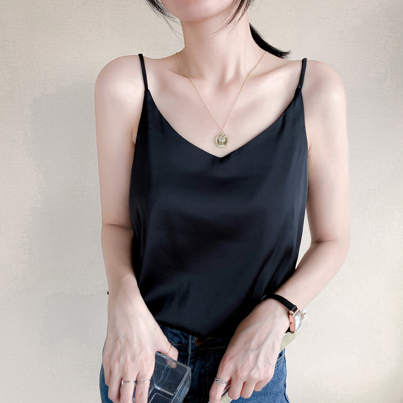 Satin silk like suspender vest for women with loose inside and V-neck top for summer