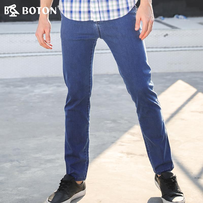 波顿/Boton2018新款青年早秋季棉质透气直筒休闲斜袋牛仔裤