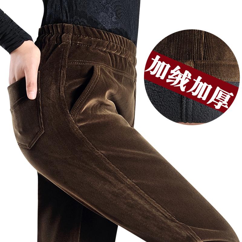 中老年女裤秋冬加绒加厚松紧腰条绒裤女妈妈装高腰厚灯芯绒奶奶裤
