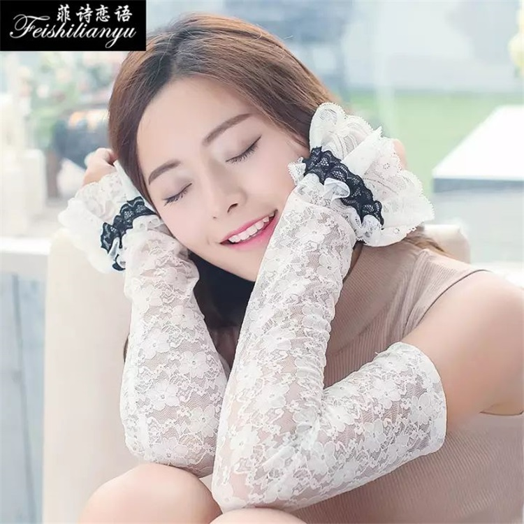 Summer Korean fashion pattern lace lace sun proof gloves outdoor riding comfort ice cut out arm sleeve