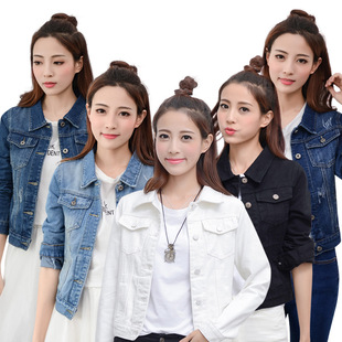 women denim jacket coat пиджак牛仔短外套牛仔上衣女夹克