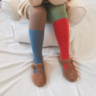 薄款 春秋季 袜BOBO纯棉拼色撞色欧美男女童袜裤 儿童连裤 宝宝打底裤
