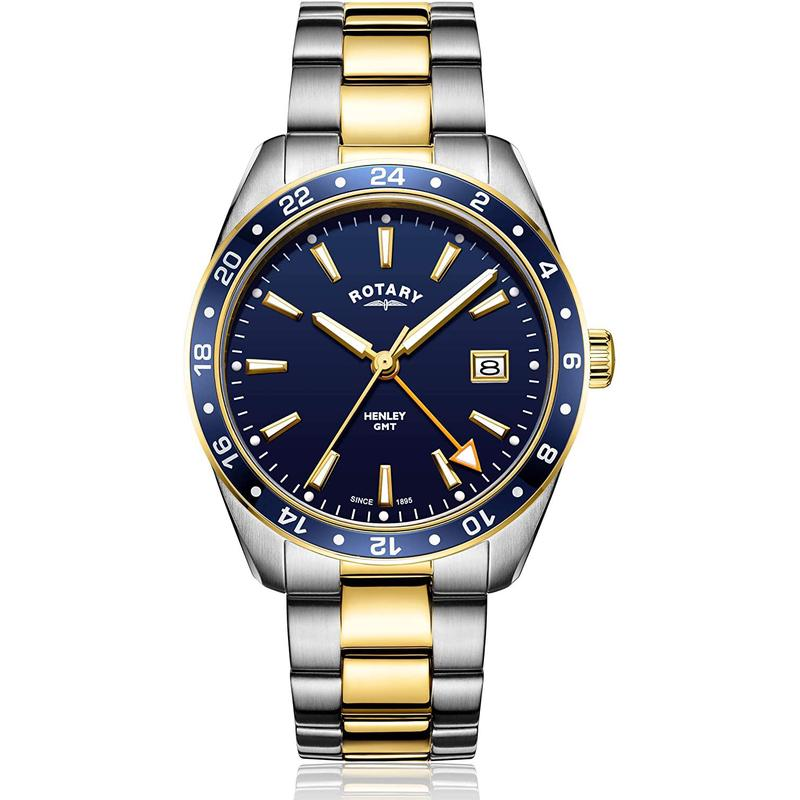 Rotary lautley genuine mens watch GMT Henry two color gold and silver stainless steel watch gb0529605