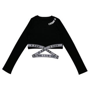 性感露臍t恤女長袖打底衫春秋裝短款高腰緊身衞衣修身露肚臍上衣