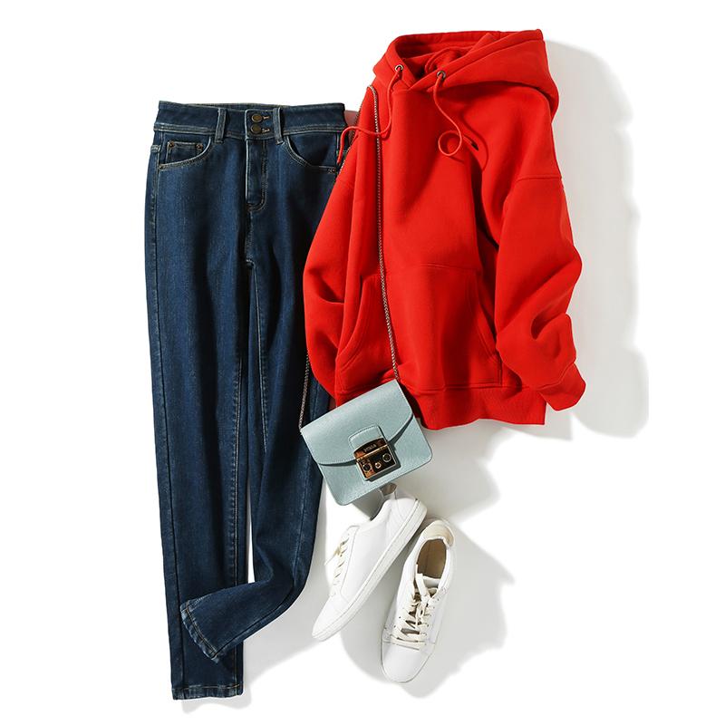 Monster te price! Chao skin friendly Plush two button skinny slim slim slim high waist small leg Jeans-2 colors 350g