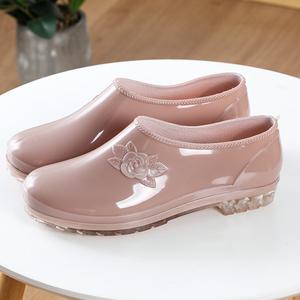 闰力女士短筒低帮雨靴厨房洗车防水工作水鞋防滑浅口妈妈胶鞋套鞋