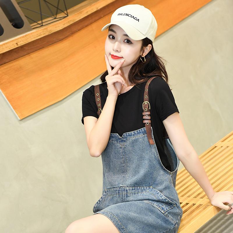 軟牛仔背帶裙女夏新款韓版寬松洋氣減齡吊帶連衣裙套裝兩件套短款