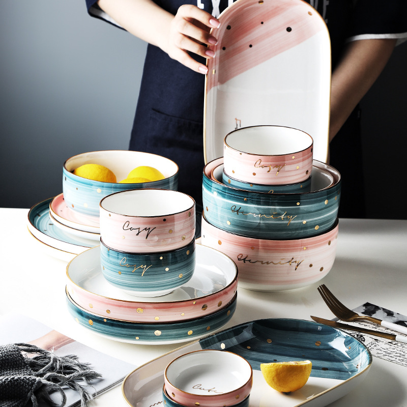 [high beauty] Nordic creative bowl, girls heart, INS style rice bowl, ceramic tableware, dishes, soup bowl set