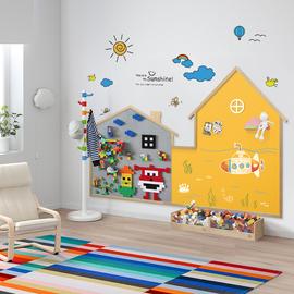 书美客积木涂鸦黑板墙宝宝黑板墙家用儿童房贴墙壁挂式磁力无尘创意墙上玩具积木墙兼容樂高