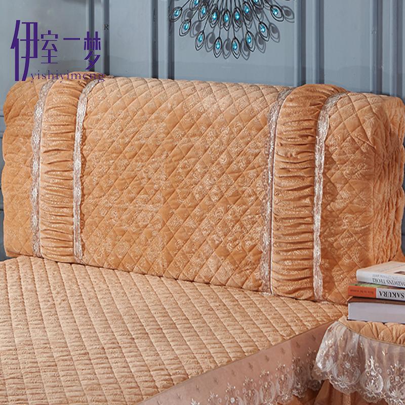 Кристалл кашемир стеганый кровати покрытия деревянные кровати головной убор утолщённый ткань искусство континентальный пылезащитный чехол 1.8M кровать кружево защита крышка