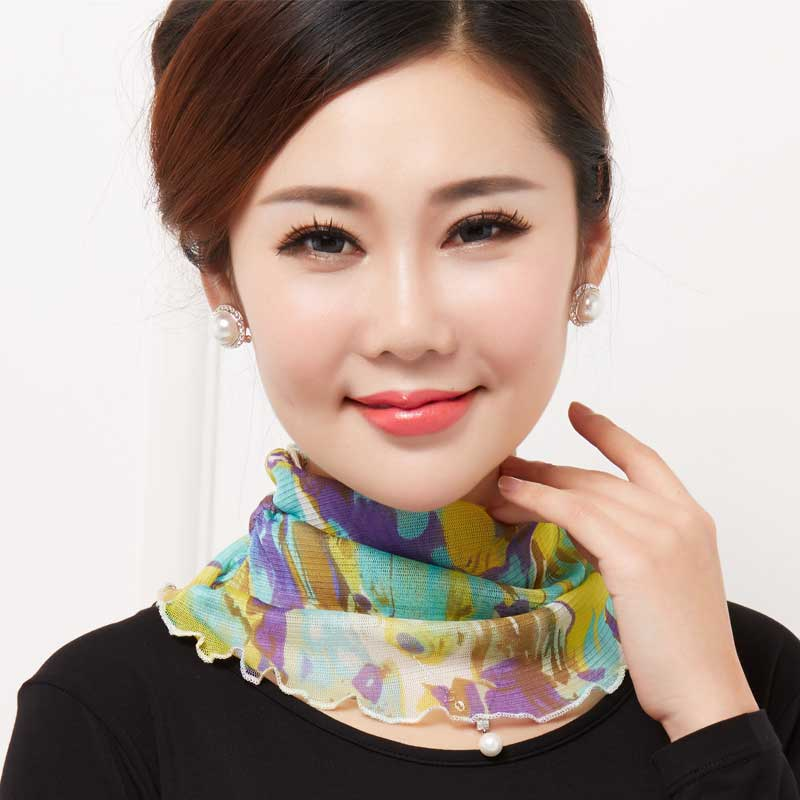 Thin silk scarf for womens head and neck cover 100 silk scarf for sunscreen fake collar mother scarf for neck protection