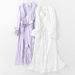 白色睡衣女长袖纯棉宫廷风睡裙全棉性感日式和风睡袍长款女春秋