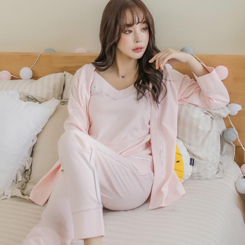 日系纯棉性感套装秋季v领吊带睡袍
