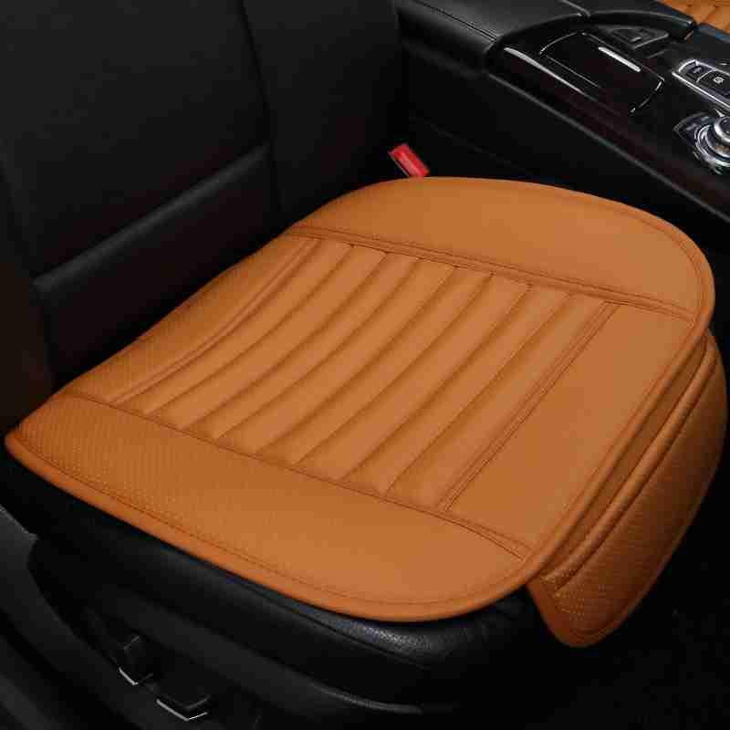 汽车坐垫单片无靠背三件套竹炭皮革透气防滑单个后排四季通用座垫