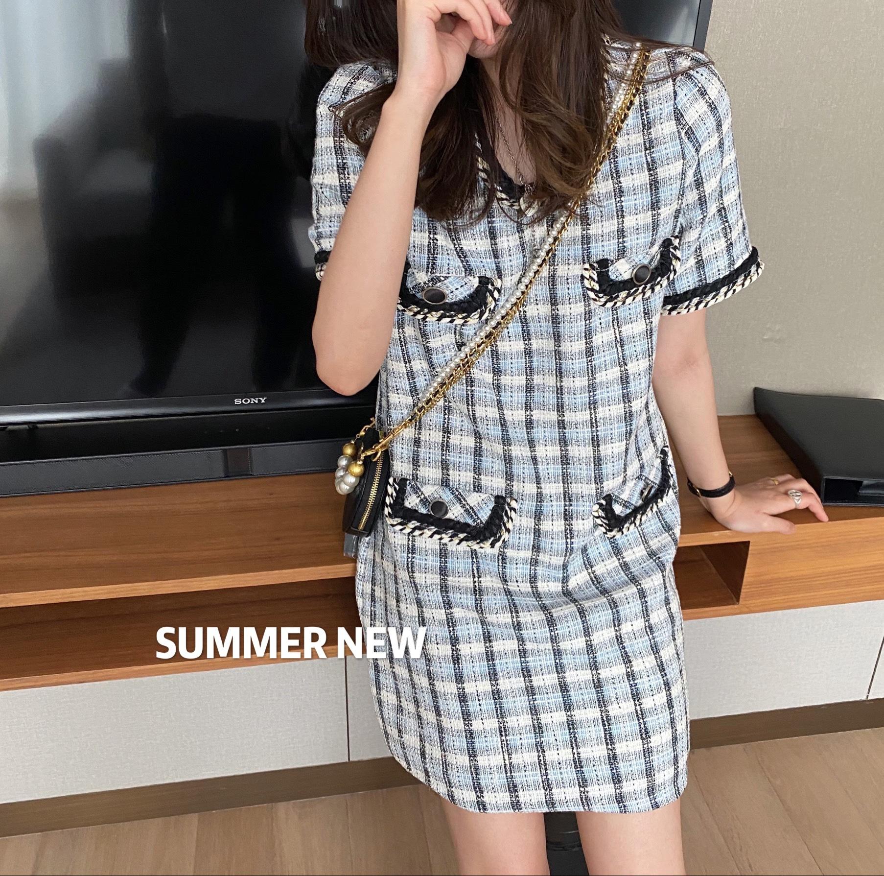 Cong dating dress 2020 new Korean summer style Plaid short sleeve woven small fragrance dress