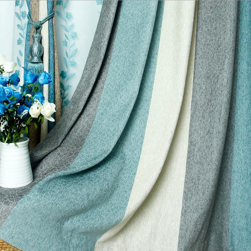 欧萱天空之城地中海蓝色条纹窗帘遮光雪尼尔简约现代客厅卧室窗帘