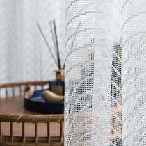 澜卡芙特殊提花工艺术感窗纱定制镂空工艺简约现代阳台白色窗纱