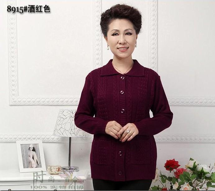 年底促销 中老年人女装秋冬装外套 妈妈装针织衫加厚毛衣开衫毛衫
