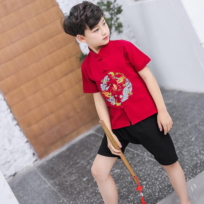 [Summer] famla 2020 new Chinese style childrens Hanfu mens original short sleeve cardigan shorts suit