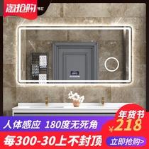 浴室带灯镜壁挂方形防雾厕所智能镜子洗手间卫浴镜led卫生间镜子